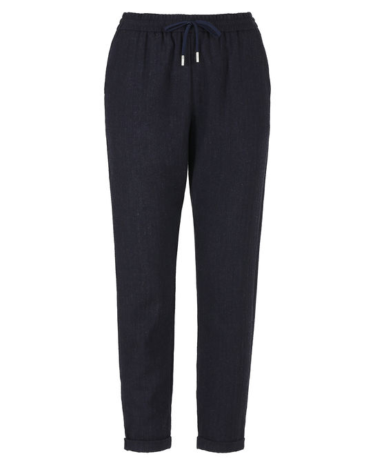 Woolrich Damen Light Wool Comfort Pant Herringbone Nav