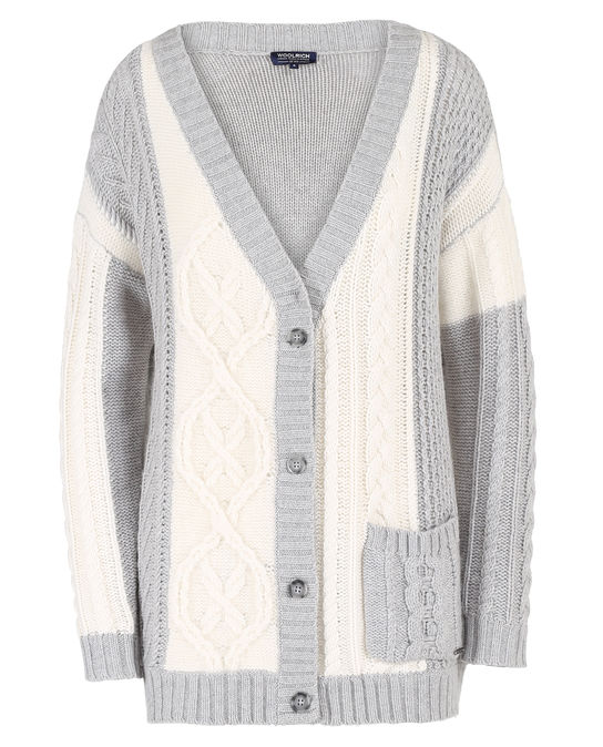 Woolrich Damen Chunky Patchwork Cardigan Snow White Patc