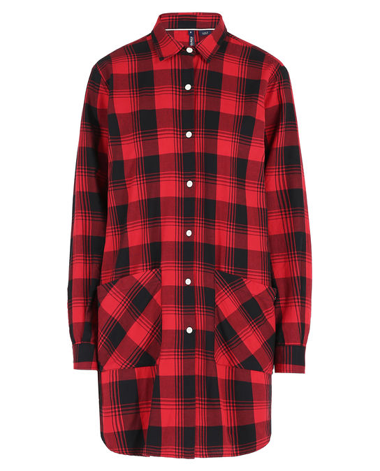 Woolrich Damen Flannel Over Shirt Red Black Check