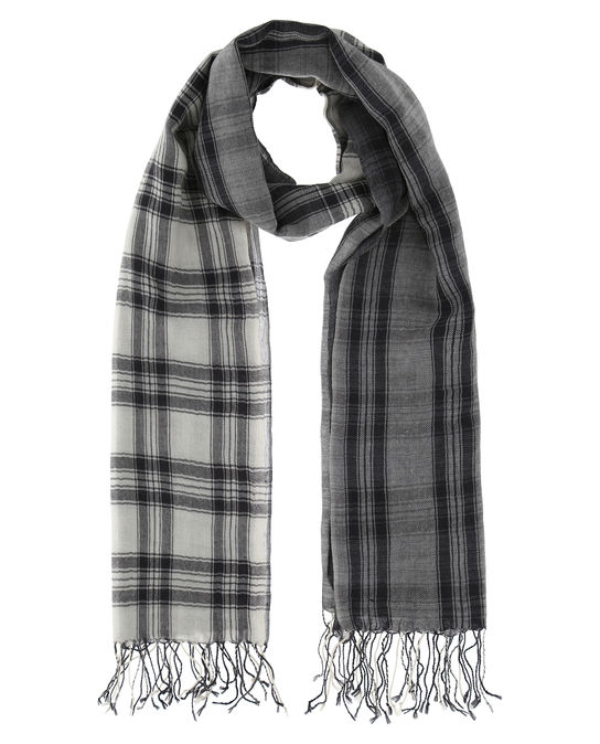 Woolrich Herren Check Scarf Charcoal