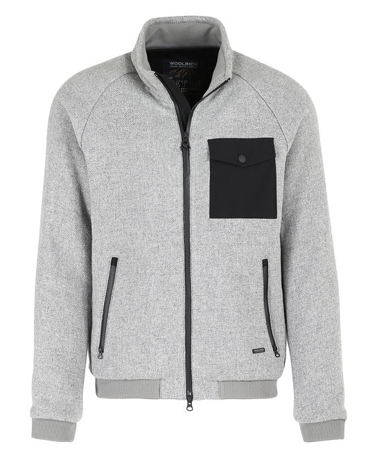 Woolrich Herren Wool Pile Bomber LIGHT GREY MELA