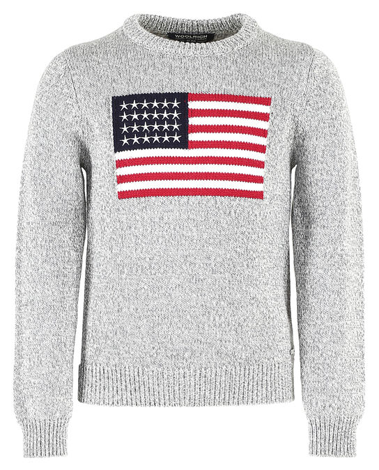 Woolrich Kinder Flag Jacquard Sweater GREY MOULINE'