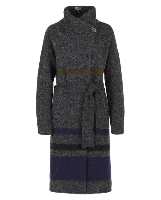 Woolrich Damen Felted Yak Coat Smoke Grey Stri